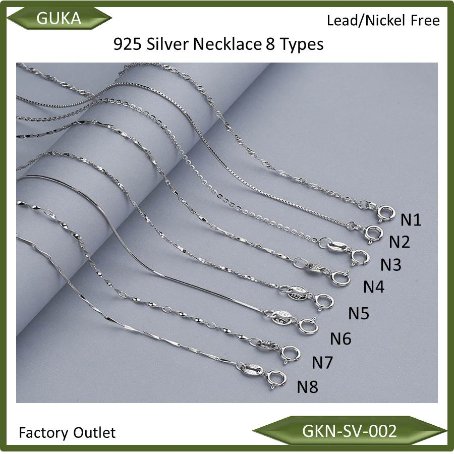 8 types pure silver chain 925 sterling silver jewelry