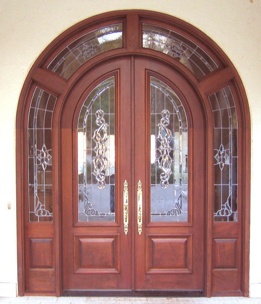 luxury double entry door with sidelites and top transoms wood door