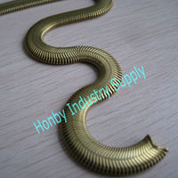 Gold plated flat thick brass snake chain