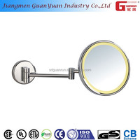 metal bathroom round lighted large led makeup mirror with magnifier