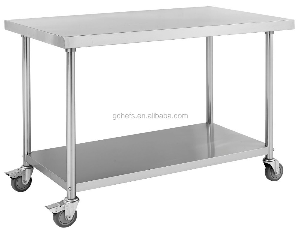 Stainless Steel Mobile Work Table with Under Shelf