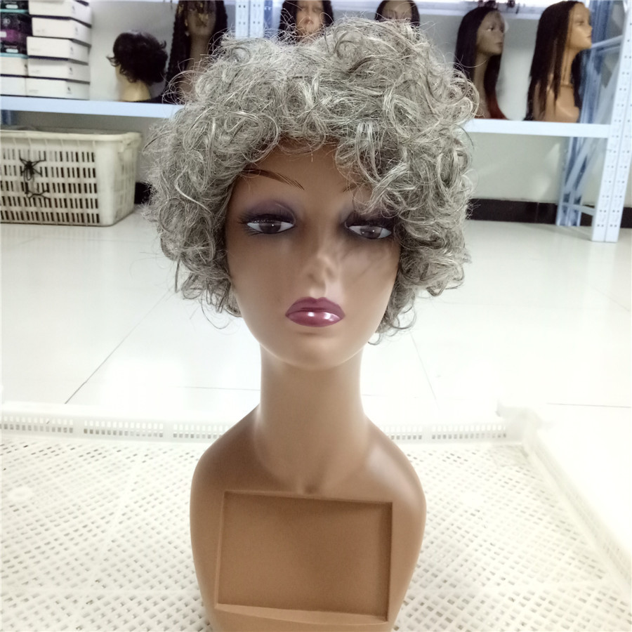Ombre Colored Grey Short Curly Style Hair Wig For Black Women No Shedding No Tangle