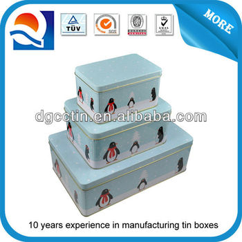 Customized CMYK printed rectangular tin nest/ tin box factory/metal tin