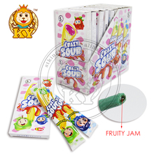 Crazy Sour Center Filling Fruity Jam Gummy Bar Straw Candy