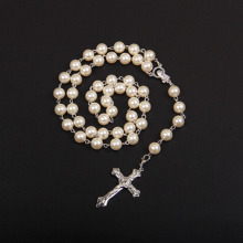 wholesale christian Imitation pearl religious rosary cross necklace