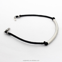 2017 Hot new design simple style nylon string stainless steel jewelry handmade silver bracelet
