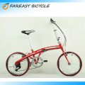 20'' Inch Red Folding Bicycle Foldable Bike 7 Speed Cycling Sport Fold