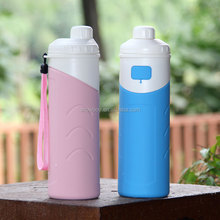 2017 FDA Approved 500ml abrasion resistant unbreakable sports silicone heat cold insulated water bottle with BPA free