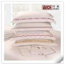 Plain Cotton 400T Customized Embroidery Logo Wholesale Pillow Cases