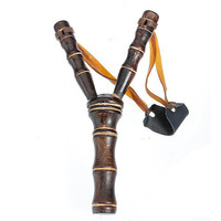 Sports Bamboo Style Wood Wooden Sling Shot Toys Slingshot Bow Catapult Hunting Bow Arrow