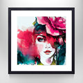 Portrait Painting Home Wall Art with Floater Frame Fashion Watercolor Girl and Beautiful Flower Print on Matte Paper