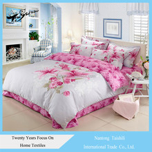 Hot wholesale Bedding set 100%cotton comfortable bed sheet set pink floral pattern pattduvet cover sets