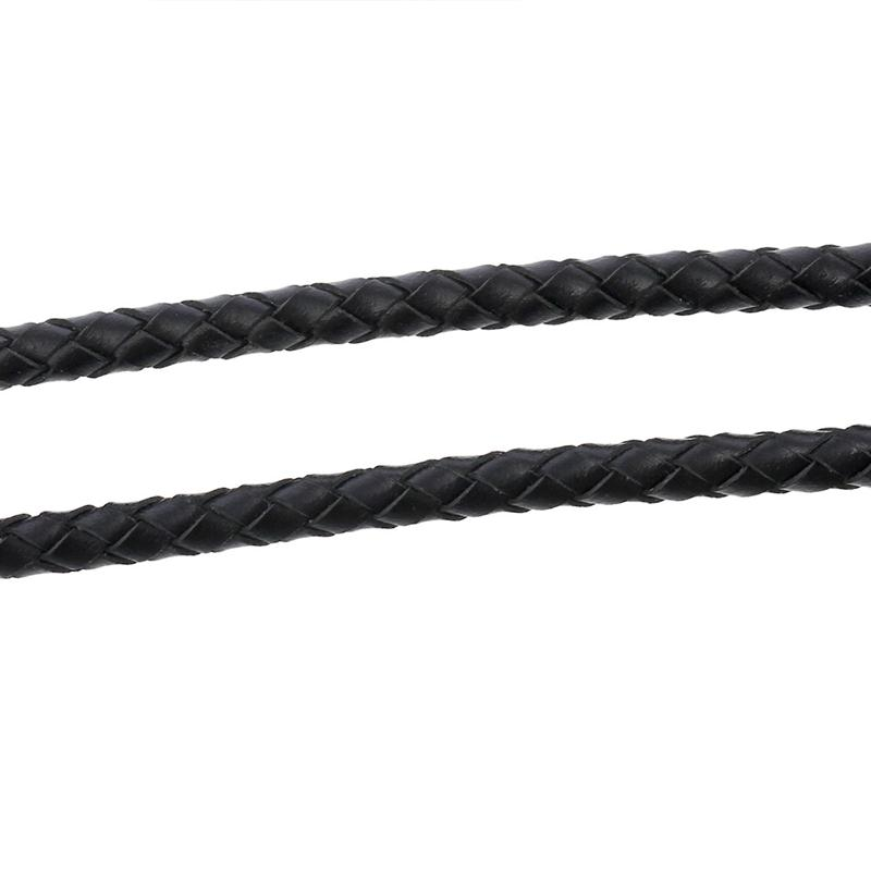 "Real leather Jewelry Rope Black Woven 5.0mm( 2/8""), 2 M"