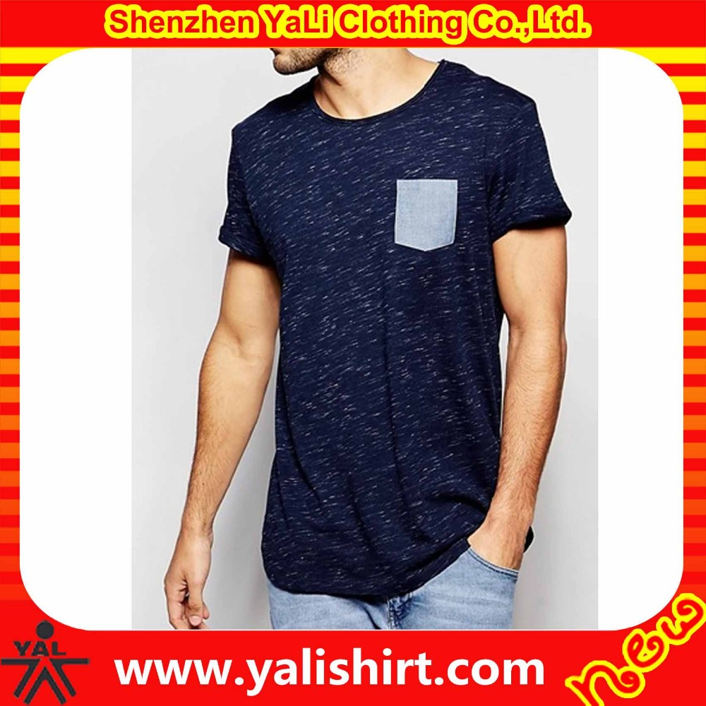 Hot sale model wear back seam cotton/polyester short sleeve slim fit blank pocket t shirt wholesale
