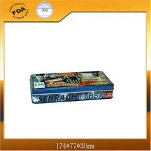 rectangle pencil tin box with embossing logo on lid