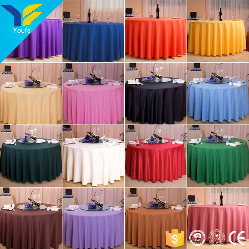 Guangzhou custom decoration cloth table cover 100% polyester round party wedding table cloth