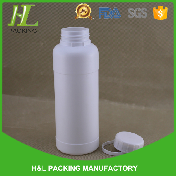 HDPE plastic 500ml white bottle, plastic container with lid 1litre