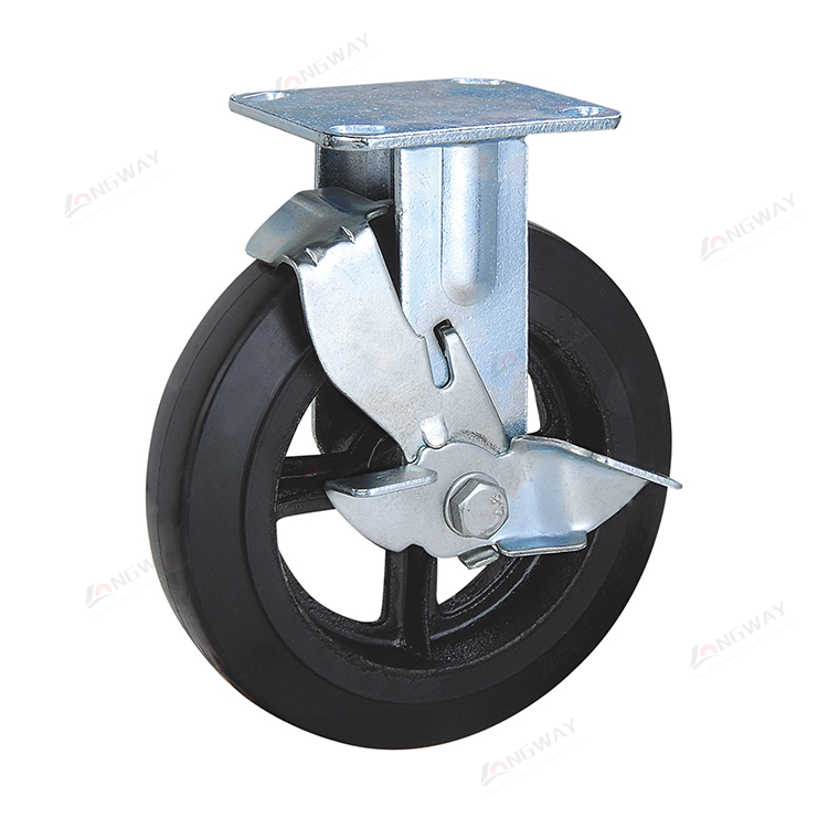 Durable zinc plated rubber mold on cast iron wheel fixed wheel caster black rubber caster for trolley