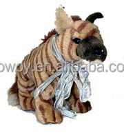 striped hyena plush toy sitting ribbon silver logo custom animal toys 701