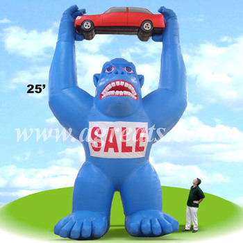 25' giant gorilla, inflatable gorilla holding a car for advertisement S2044