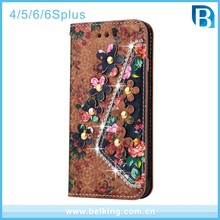 Retro Painted Wallet Case For iPhone 6 Diamonds Flowers Leather Case For iPhone 6Plus