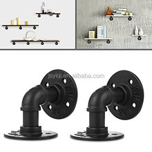 8x8cm Industrial Black Iron Pipe Shelf Bracket Wall Mounted Floating Shelf Hanging Wall Hardware