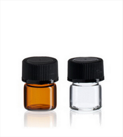 1ml 1/4 dram 15x19mm Amber Glass Bottle/Orifice Reducer/Plastic Cap