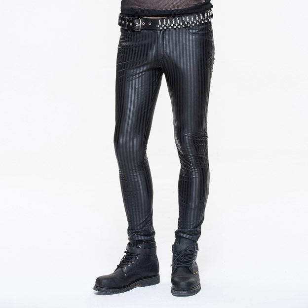Devil Fashion punk style men's tights pant, stripes pant, PT045#