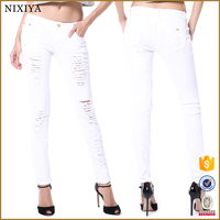 woman white color cotton with elastic girl Jeans, lady wrapped Jeans