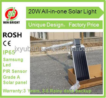 20W Factory price Integrated solar energy-saving all in one garden light LED Outdoor Light 20w LED Road Lamp Waterproof IP65