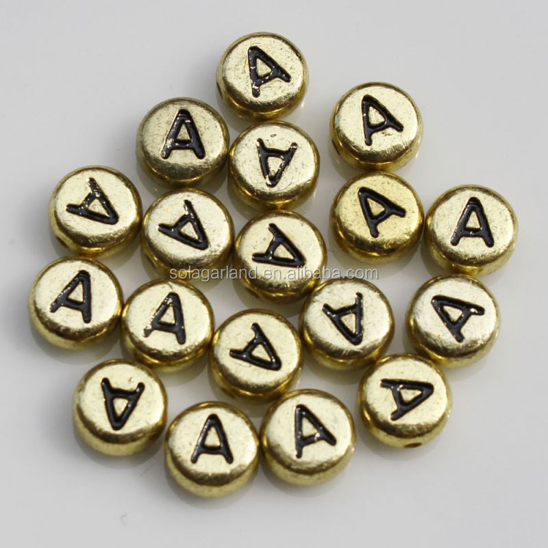 New Charms 4* 7MM Acrylic Metallic Golden Color Round Flat Black Letter Beads or Kids Craft Making