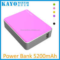 5200mAh Universal Li-ion power bank / USB portable external battery power bank charger for cell phones