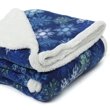 Christmas & snow design warm polar fleece & sherpa blanket