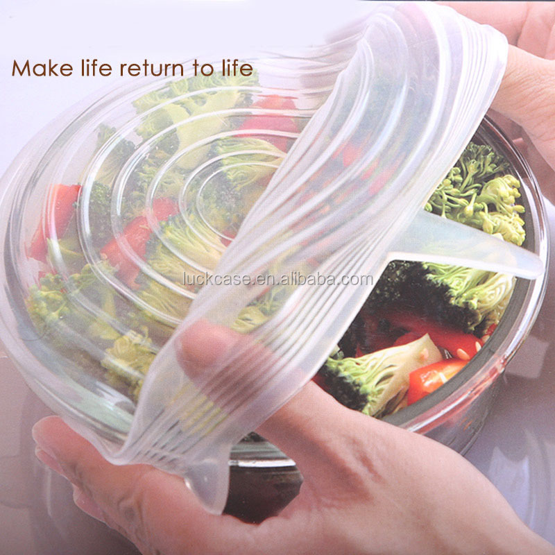 Best selling food-grade universal silicone dish cover,fresh food cover crisper lunch box lid,microwave cover outdoor food cover