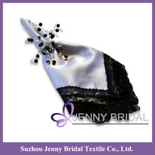 NP013A black and white lace table napkin for weddings