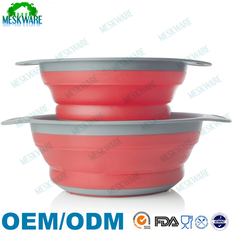 Food grade space saved folding green silicone collapsible strainer/colander
