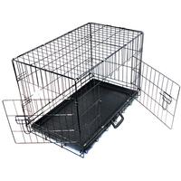double doors strong folding metal wire dog cage with floor