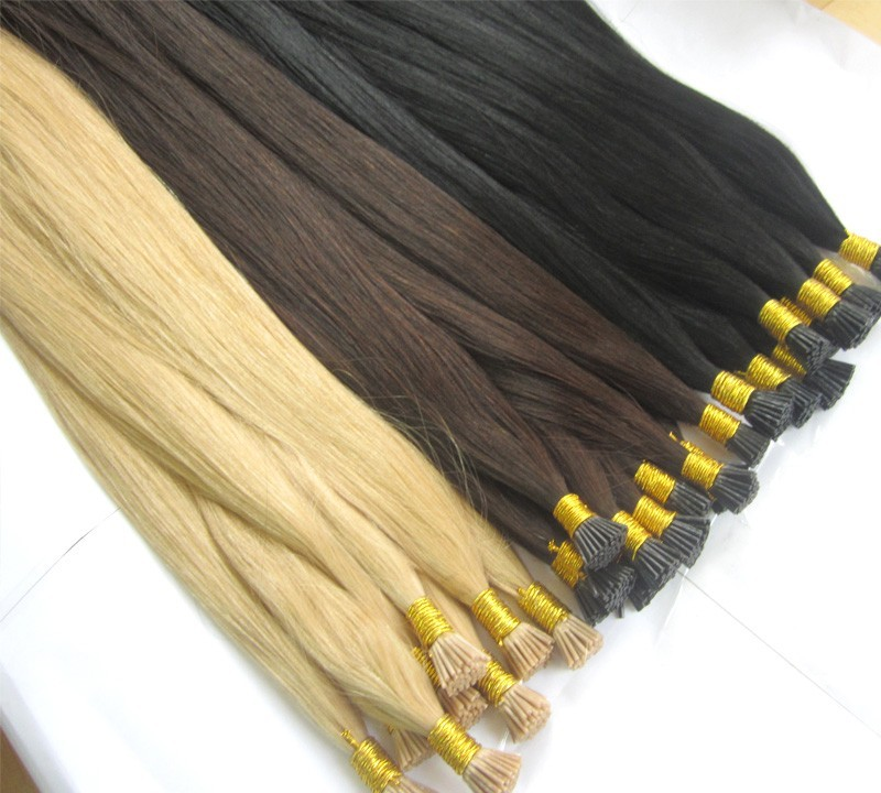 Wholesale Keratin I Tip Hair 8A Grade Pre-Bonded Black Color I Tip Hair Extensions Only for lady