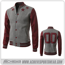 high quality blank varsity jacket wholesale with leather sleeve