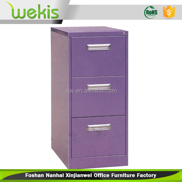 Beautiful style steel vertical 3 drawer purple filing cabinet