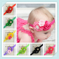 Wholesale newborn Chiffon Flower baby hair headband,Pink Satin Rosette Baby headband