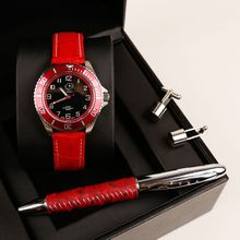 Red Cufflink Pu Leather Pen Vague Ladies Watch Gift Set for Promotion