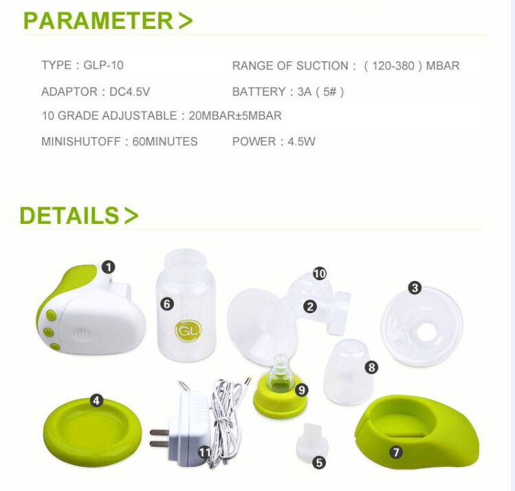 High Quality Mini Portable Baby Breast Pump ,Baby Feeding Electric Breast Pump Supply
