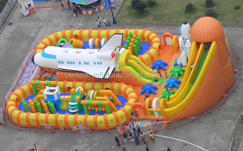 Mega and color plane jump slide, custom inflatable dry slide on sale