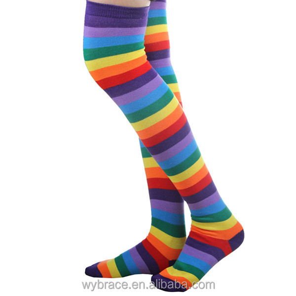 Gift Lovely Polyester OVER THE KNEE SOCKS Rainbow Colorful High Thigh Ladies Long Women Socks Stripey Stocking
