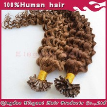 6#8# colors U Tip curly hair extension ,Super Deep wave human hair extension