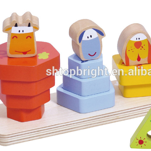 Astm American Market 13 Pcs Farm Animal Stacking Blocks Cow Dog