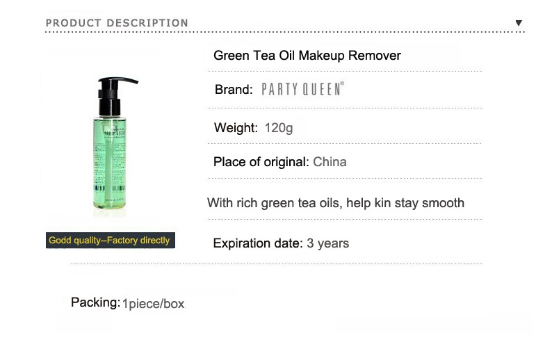 Cosmetics Green Tea Oil Makeup Remover For Face Eyes Lips