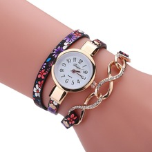 Duoya women silver chain wrist watch Luxury Ladies 2017 Fashion Leather Band Rhinestone Quartz female watches