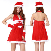 Women Christmas fancy Mini Dress +Santa Claus Hat +Gloves +Belt Christmas Costume 4 Pcs Sets